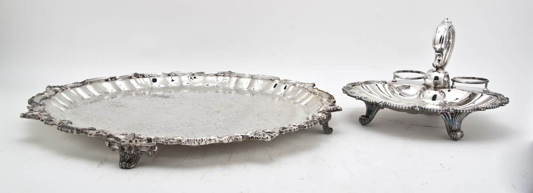 530: A Collection of Six Silverplate Trays, Width of wi