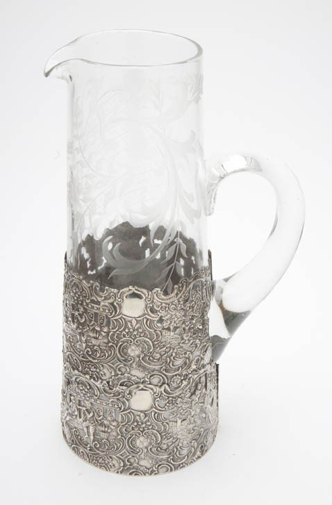 531: A Sterling Silver Mounted Etched Glass Pitcher, He