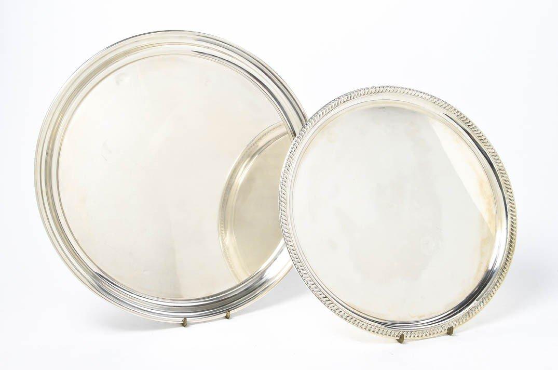 542: Two American Sterling Silver Trays, Diameter of la