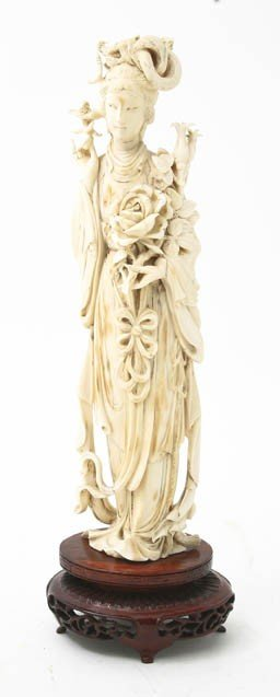 630: An Ivory Model of a Lady, Height of ivory 10 1/8 i