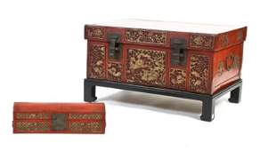 616A: A Chinese Painted Leather Trunk,