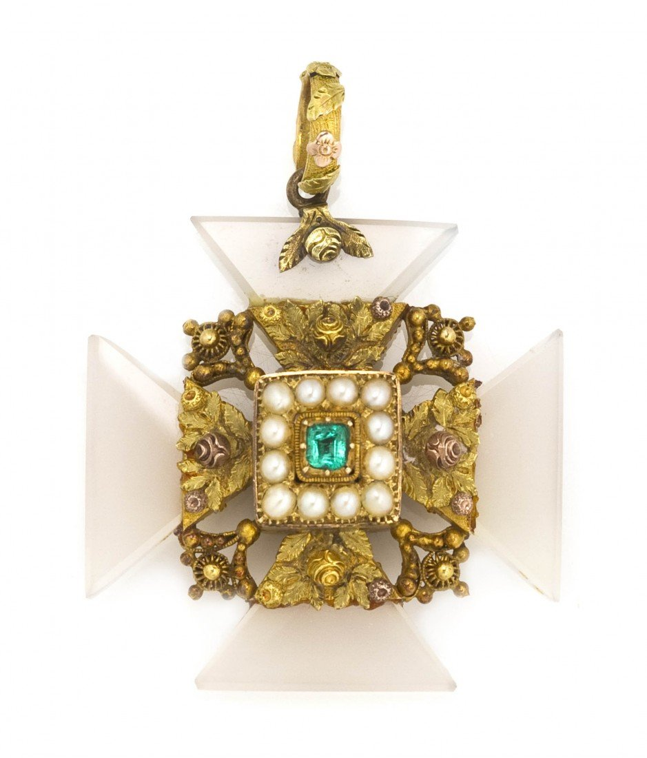 2: A Victorian Gold, Chalcedony, Emerald and Pearl Malt