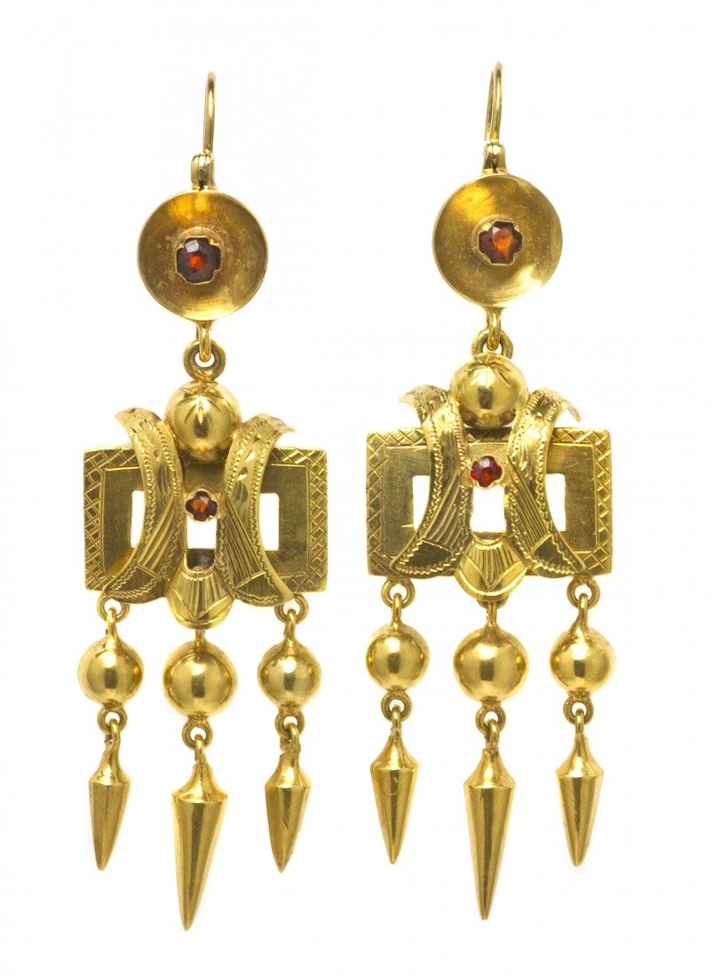 3: A Pair of Victorian Yellow Gold and Garnet Earrings,