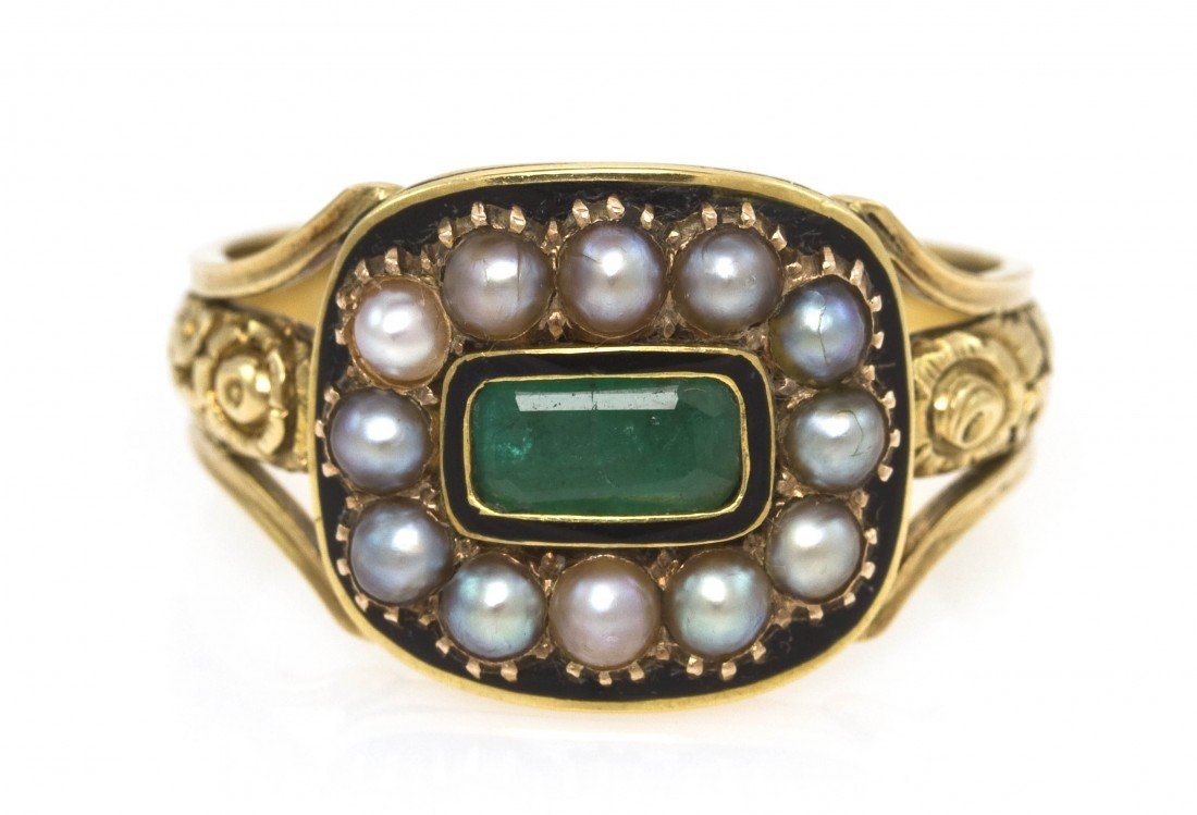 4: A Victorian Yellow Gold, Emerald, Pearl and Enamel R