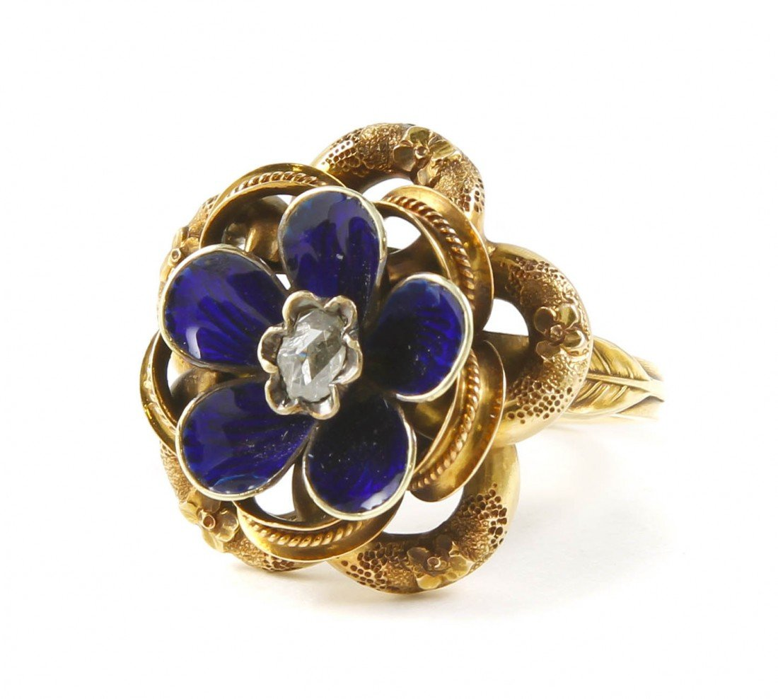 6: A Victorian Yellow Gold, Diamond and Enamel Ring, 4.