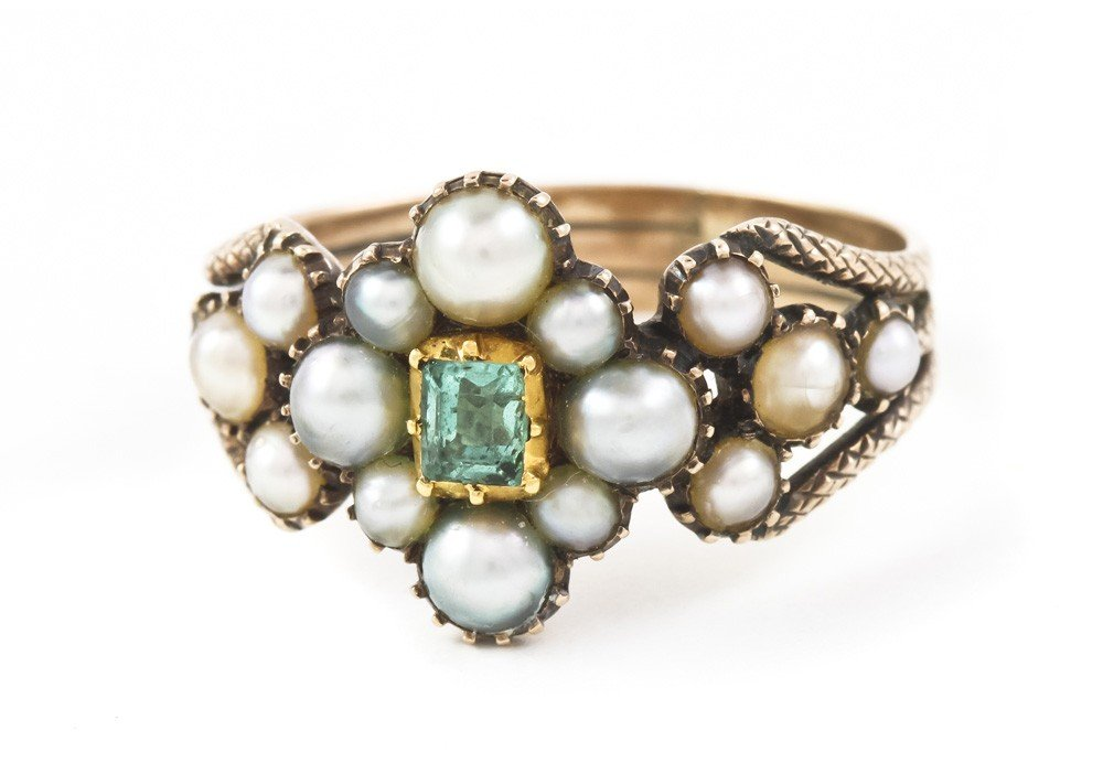 15: A Victorian Yellow Gold, Pearl and Emerald Ring, 2.