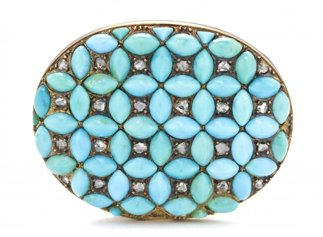 17: An Antique Yellow Gold, Turquoise and Diamond Brooc
