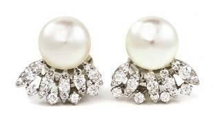 77 A Pair of Platinum Cultured Pearl and Diamond Earc