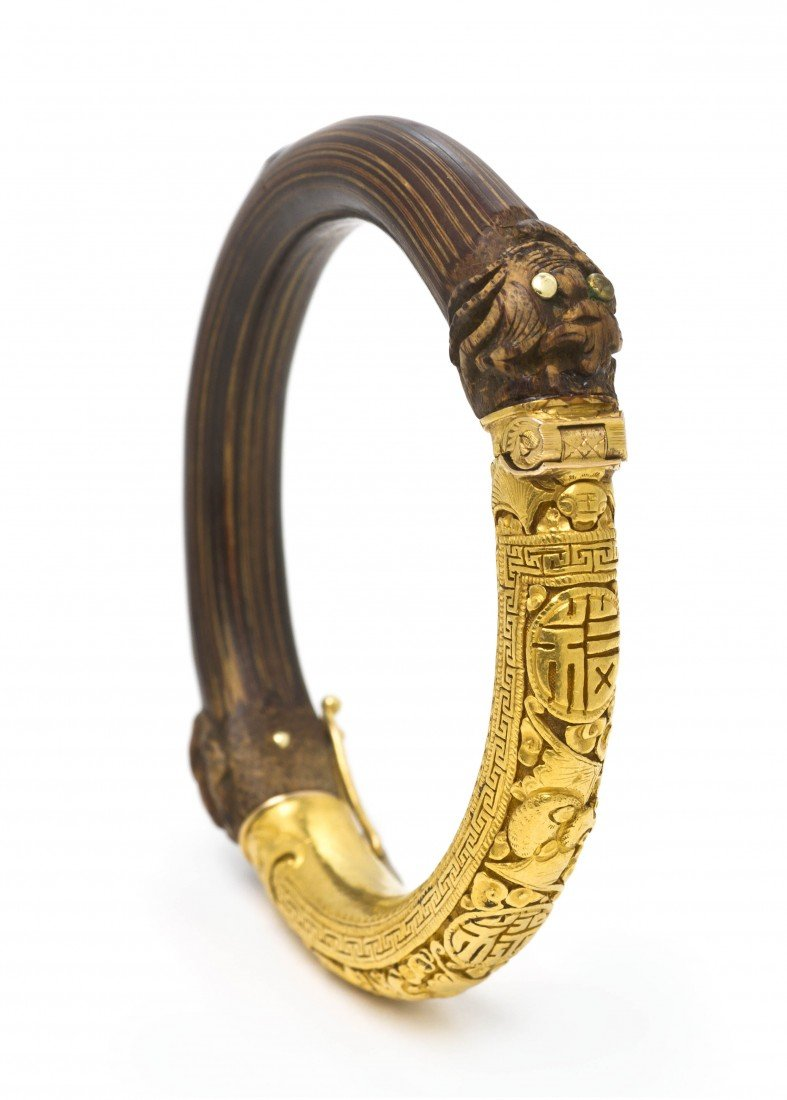 245: A Yellow Gold and Bamboo Bracelet, Chinese, 25.40
