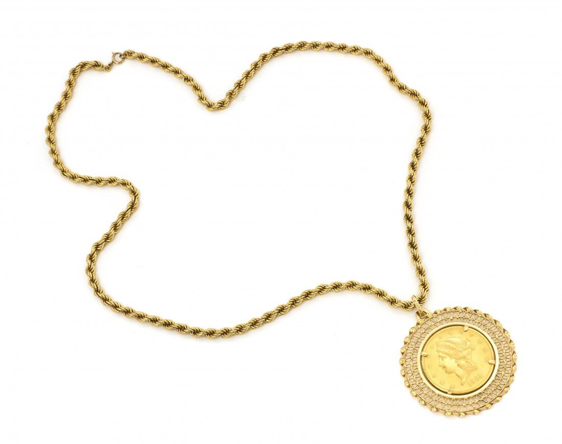 337: A 14 Karat Yellow Gold and US $20 Dollar Coin Neck
