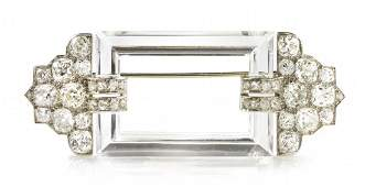 455 An Art Deco Platinum Diamond and Rock Crystal Bro