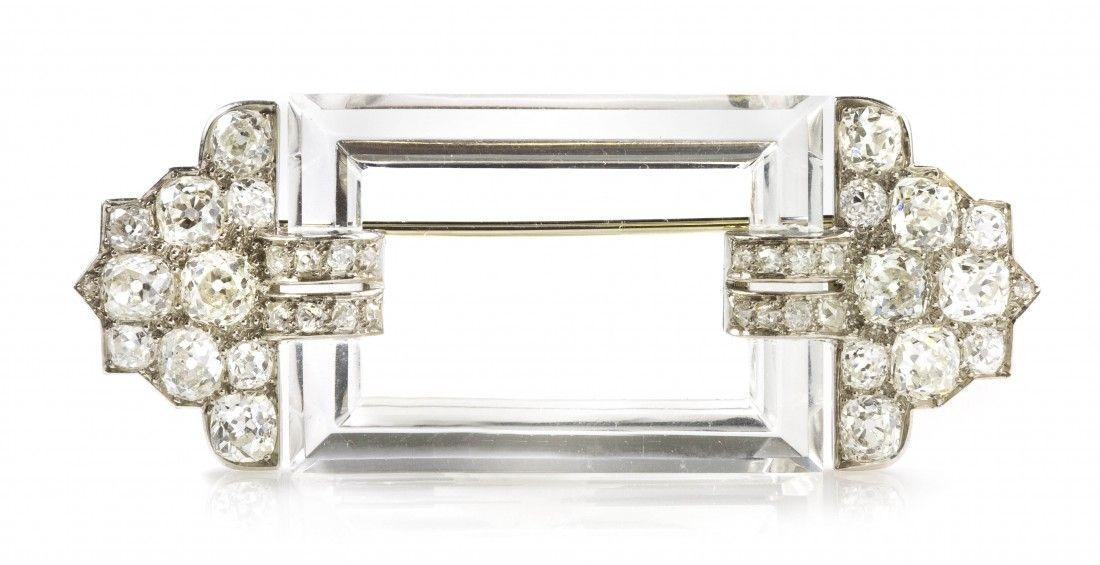 455: An Art Deco Platinum, Diamond and Rock Crystal Bro
