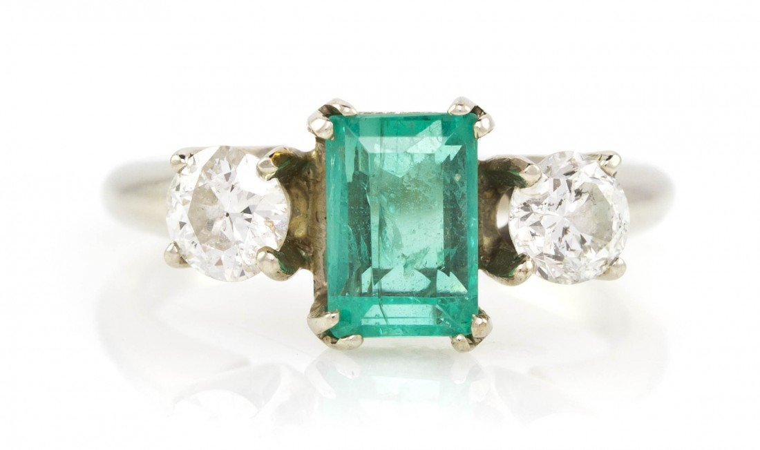 463: A 14 Karat White Gold, Emerald and Diamond Ring, 2