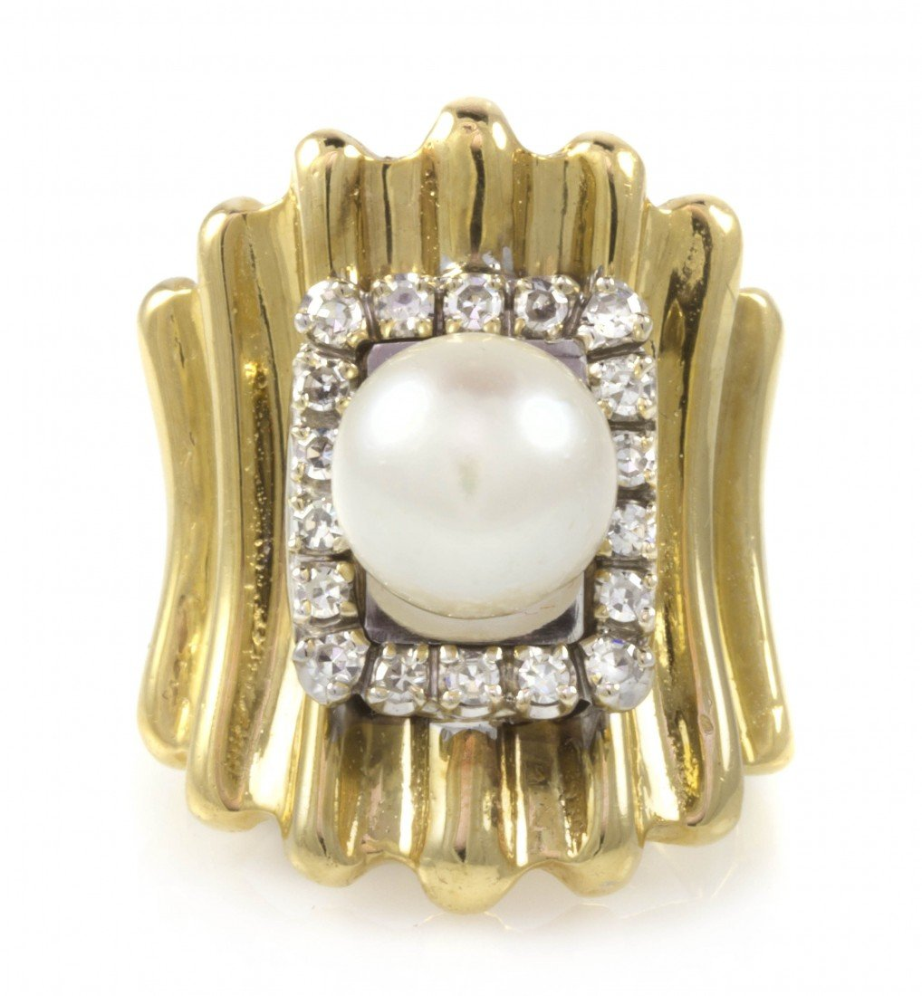 475: A 14 Karat Gold, Cultured Pearl and Diamond Ring,