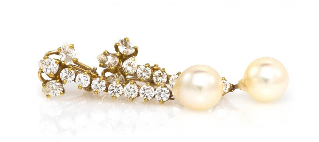 476: A Pair of 18 Karat Yellow Gold, Pearl and Diamond