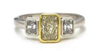 729 A Platinum 18 Karat Gold Fancy Color and White D