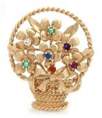 740 A 14 Karat Yellow Gold and Multi Color Gem Brooch