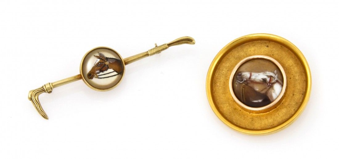 898: Two Victorian 14 Karat Yellow Gold Horse Pins, 11.
