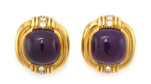 973 A Pair of 18 Karat Yellow Gold Amethyst and Diamo