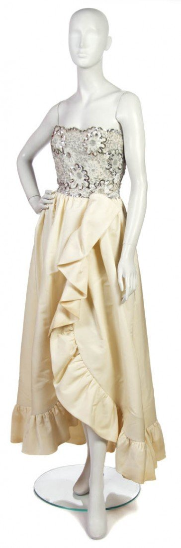 1: An Arnold Scaasi Ivory Silk and Silver Sequin Evenin