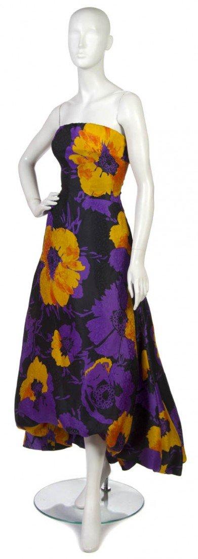 3: An Arnold Scaasi Purple and Black Floral Silk Evenin