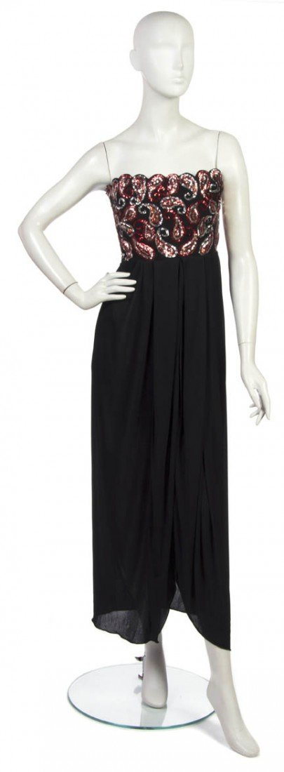 9: An Arnold Scaasi Black and Red Sequin Evening Ensemb
