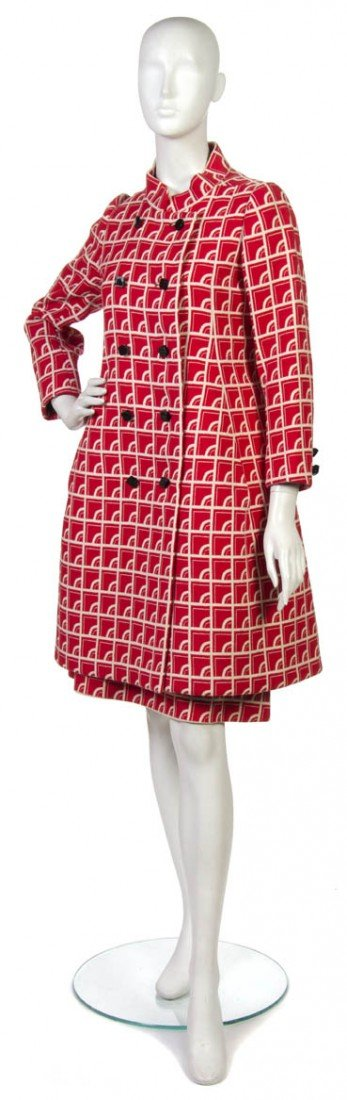 12: An Arnold Scaasi Red Wool Coat,