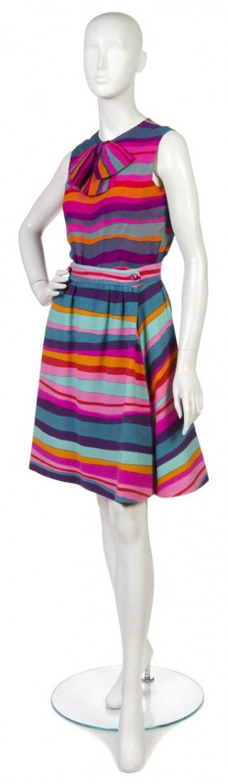 13: An Arnold Scaasi Multicolor Three Piece Skirt Suit.