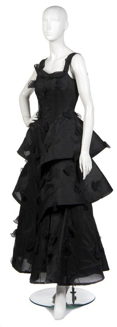 18A: An Arnold Scaasi Black Silk Evening Gown,