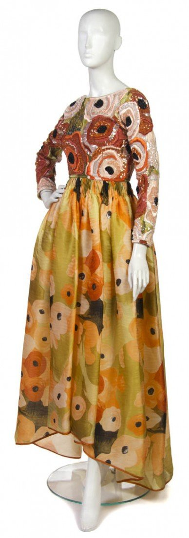 19: An Orange Embroidered and Silk Floral Evening Gown.