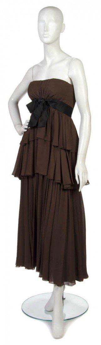 20: A Sarmi Brown Silk Chiffon Evening Gown,