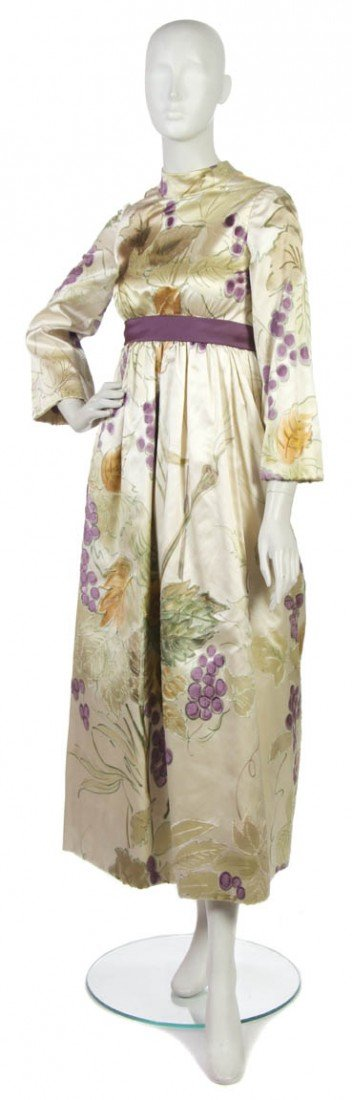 22: A George Halley Cream Floral Silk Evening Gown.