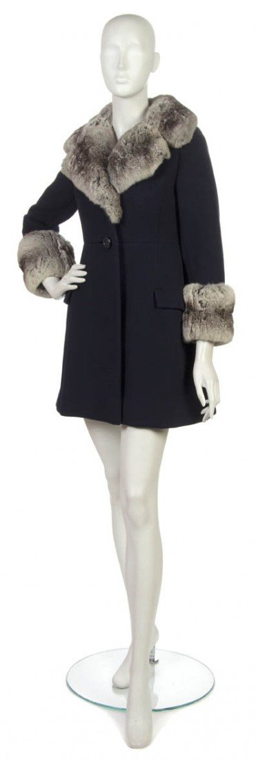 23: A George Halley Navy Blue Wool and Chinchilla Coat.