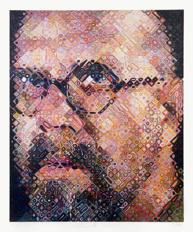 1025: Chuck Close, (American, b. 1940), Self Portrait,