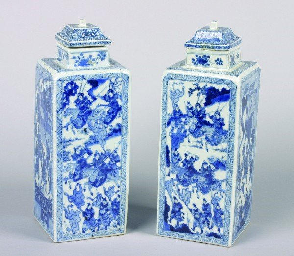 2: A Pair of Chinese Blue and White Porcelain Square Se