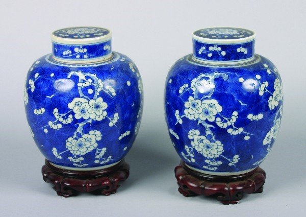 6: A Pair of Chinese Blue and White 'Hawthorne Pattern'