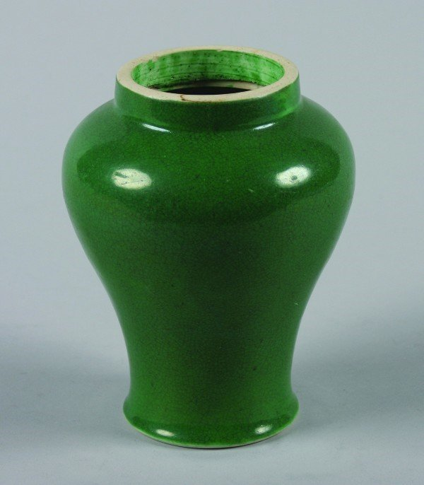 14: A Chinese Green Glazed Ceramic Meiping Jar, Height