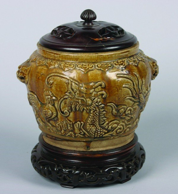 15: A Chinese Mustard Glazed Ceramic Jar, Height with c