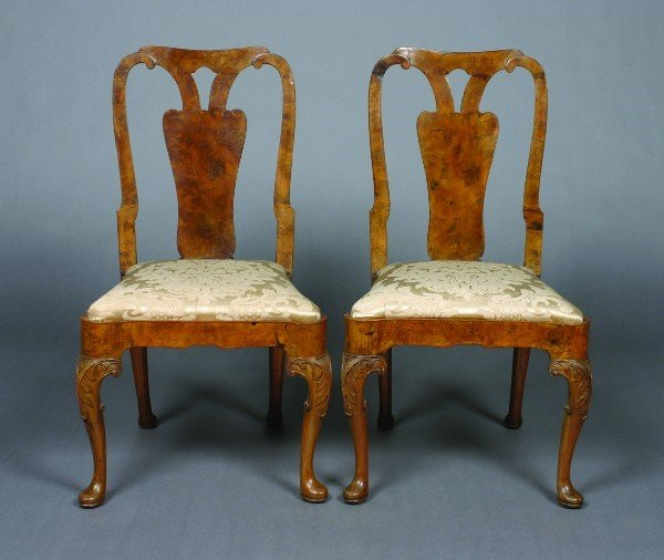 19: A Pair of George I Walnut Side Chairs,