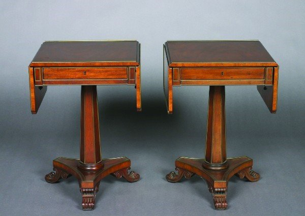 22: A Pair of Baker Regency Style Brass-Mounted Mahogan