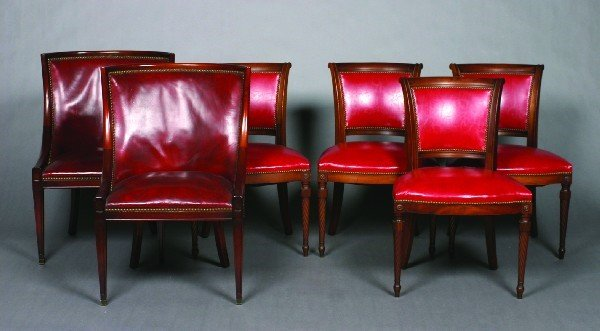25: An Assembled Group of Six Regency Style Leather-Uph