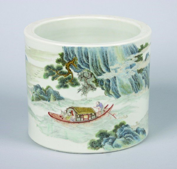 50: A Chinese Famille Rose Porcelain Brushpot, Height 6