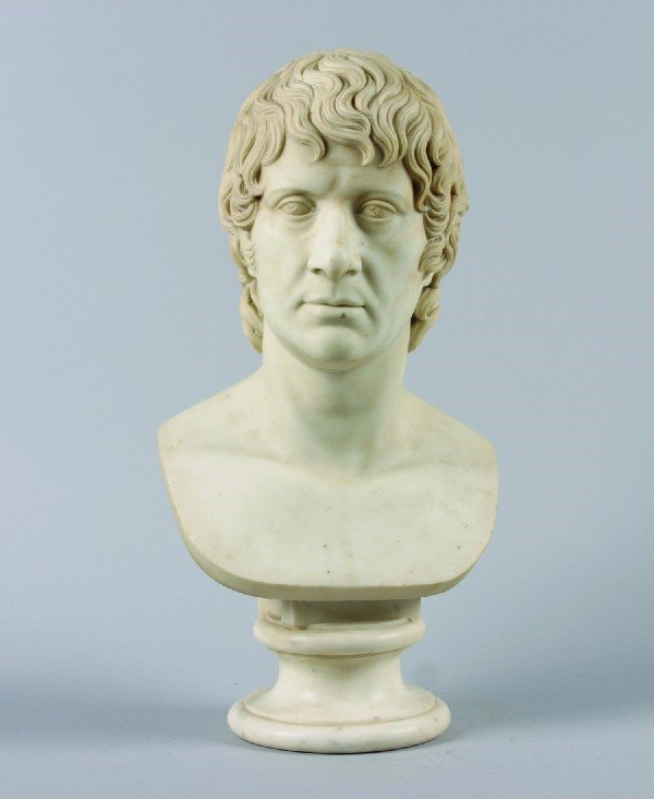 104: A White Marble Bust of Man. Height 22 inches.