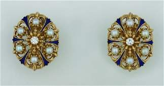1302: A Pair of Lady's Yellow Gold, Pearl Diamond and B
