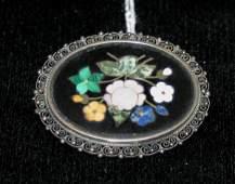 1432: A Lady's Silver Framed Pietra Dura Brooch,
