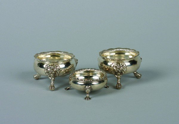 1533: A Pair of George II Silver Salts, London, Height