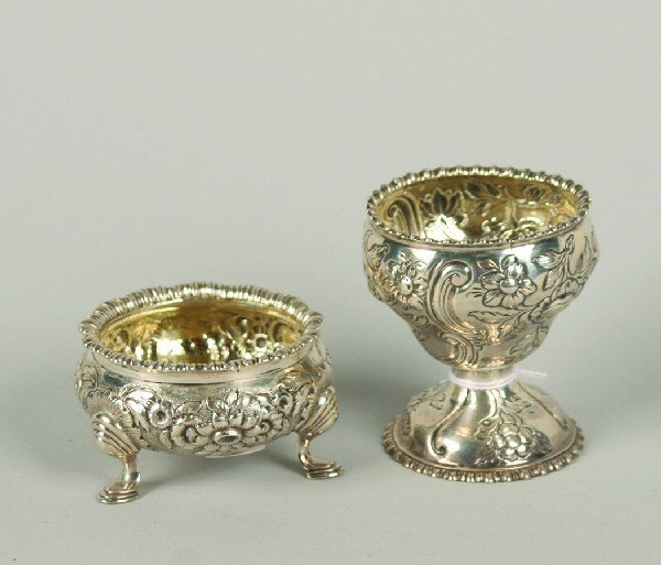1537: A Group of Two Repousse Silver Salts, London and