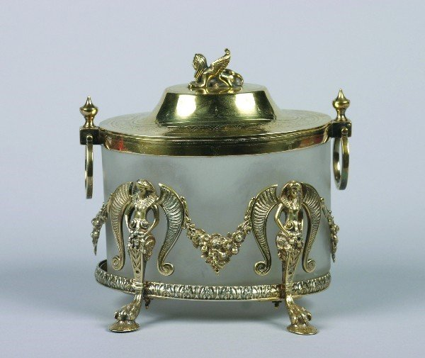 1538: An English Goldwash Silver Plate and Frosted Glas
