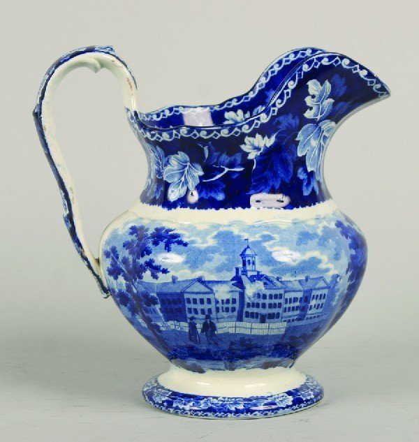 1710: A Staffordshire Transfer Decorated Pottery Pitche