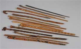 1755: A Group of 14 Wooden Canes, Lenght of first 32 in
